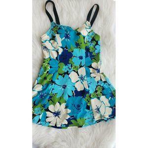 Islander Swimdress Floral Tropical Blue Green 10